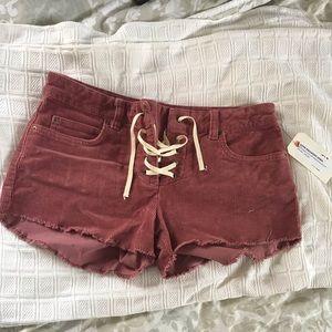 billabong red corduroy shorts